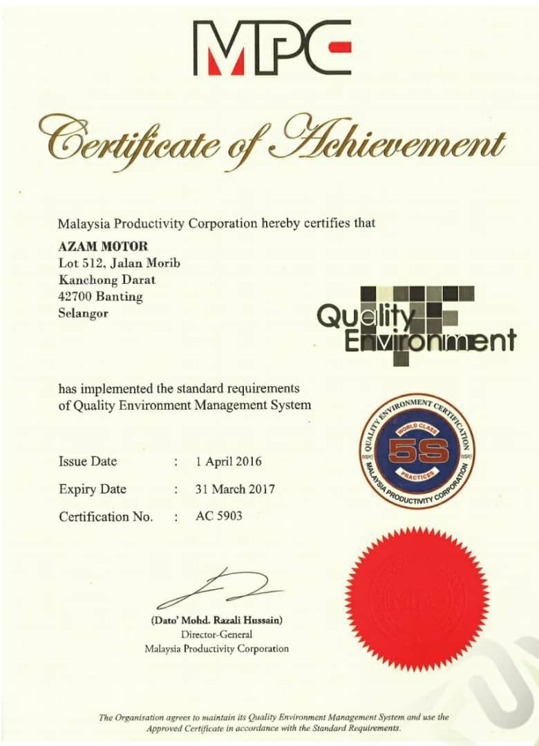 award for Quality Environment